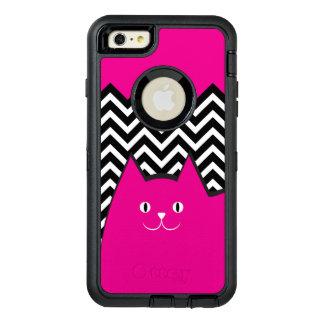 かわいいピンクのシェブロンの子猫猫 オッターボックスディフェンダーiPhoneケース