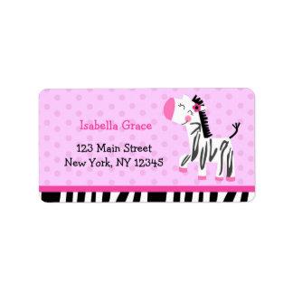 かわいいピンクのシマウマの差出人住所ラベル 宛名ラベル