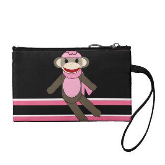 かわいいピンクのソックス猿の女の子の花の帽子は縞で飾ります コインパース