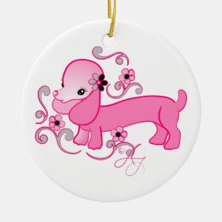 かわいいピンクのダックスフント セラミックオーナメント