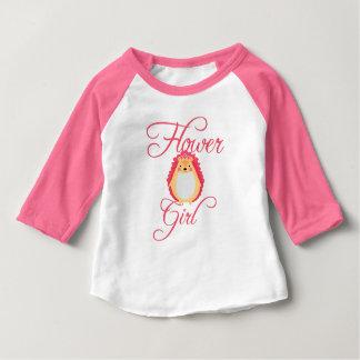 かわいいピンクのハリネズミのフラワー・ガール ベビーTシャツ
