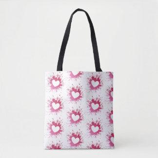 かわいいピンクのハートのトートバック トートバッグ