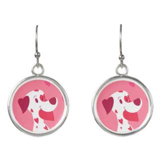 かわいいピンクのハートのバレンタインのダルマチア人 イヤリング