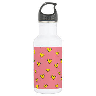 かわいいピンクのハートパターン ウォーターボトル