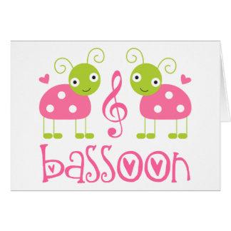 かわいいピンクのバスーンのてんとう虫音楽ギフト カード