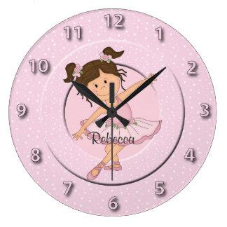 かわいいピンクのバレリーナ2 ラージ壁時計