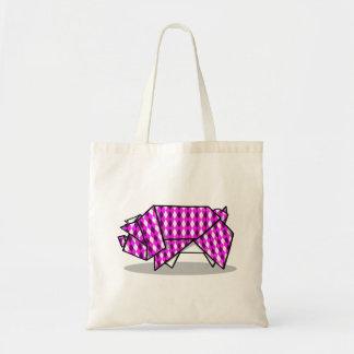 かわいいピンクのパターン(の模様が)あるなペーパーブタ トートバッグ