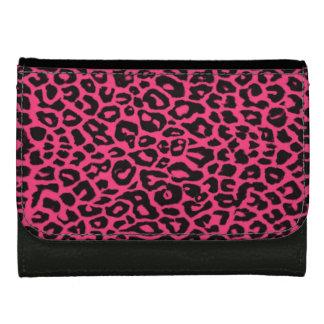 かわいいピンクのヒョウのアニマルプリントの財布