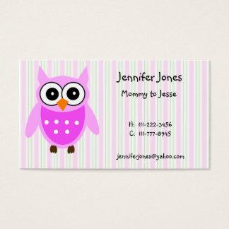 かわいいピンクのフクロウのテレホンカード 名刺