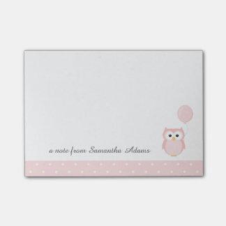 かわいいピンクのフクロウのノート ポストイット
