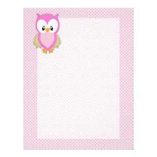 かわいいピンクのフクロウの水玉模様ピンクパターンイメージのプリント レターヘッド