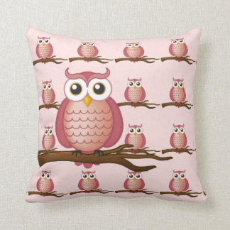 かわいいピンクのフクロウの装飾用クッション クッション