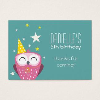 かわいいピンクのフクロウの誕生日はパーティの記念品感謝していしています 名刺