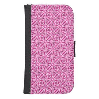 かわいいピンクのフラクタルの対角線パターン ウォレットケース