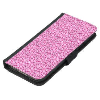 かわいいピンクのフラクタルの対角線パターン GALAXY S5 ウォレットケース