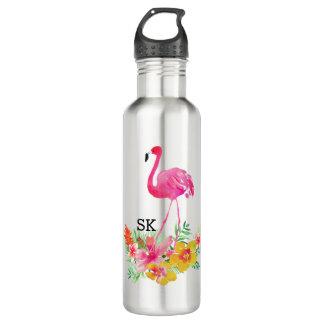 かわいいピンクのフラミンゴ及び熱帯花の花束 ウォーターボトル