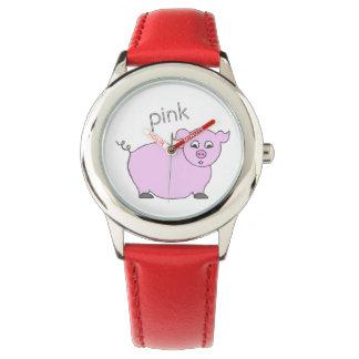 かわいいピンクのブタのガーリーな子供の腕時計 腕時計