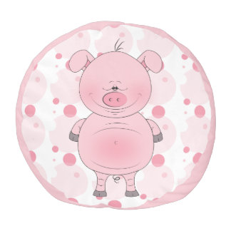 かわいいピンクのブタの漫画 プーフ