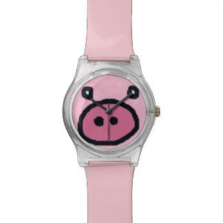 かわいいピンクのブタの顔 腕時計