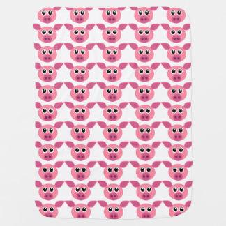 かわいいピンクのブタパターンデザイン ベビー ブランケット