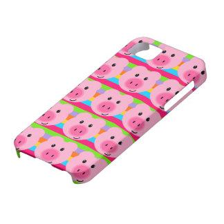 かわいいピンクのブタパターン虹のiPhone 5の場合 iPhone SE/5/5s ケース