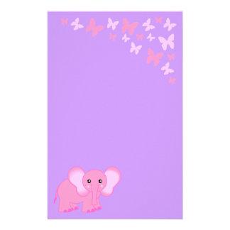 かわいいピンクのベビー象および蝶文房具 便箋
