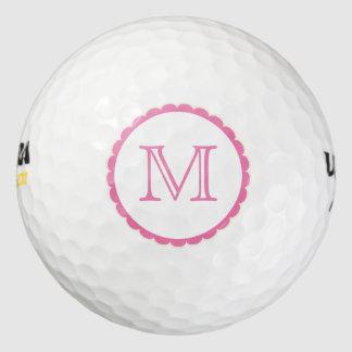 かわいいピンクのレースの円Monogramed ゴルフボール
