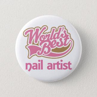 かわいいピンクの世界のベストのネイルアーティスト 5.7CM 丸型バッジ