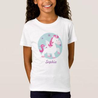 かわいいピンクの名前入りな魔法のユニコーンのTシャツ Tシャツ