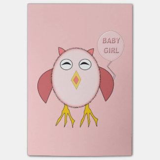 かわいいピンクの女の赤ちゃんのフクロウのポスト・イットのパッド ポストイット
