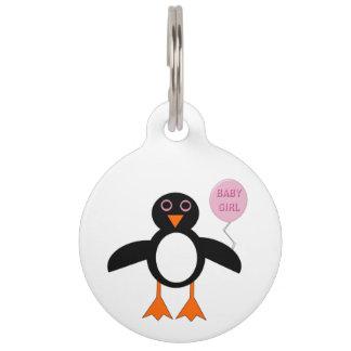 かわいいピンクの女の赤ちゃんのペンギンのドッグタッグ ペット ネームタグ