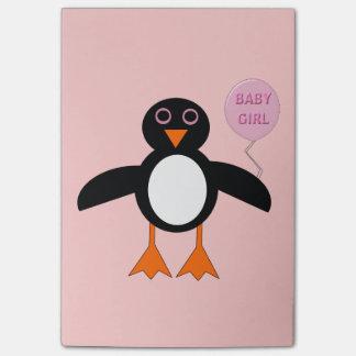 かわいいピンクの女の赤ちゃんのペンギンのポスト・イットのパッド ポストイット