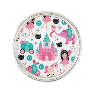かわいいピンクの小さいプリンセスのユニコーンの魔法パターン ラペルピン