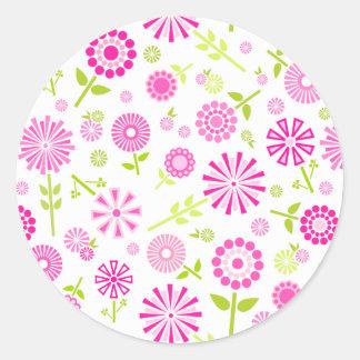 かわいいピンクの春の花 ラウンドシール