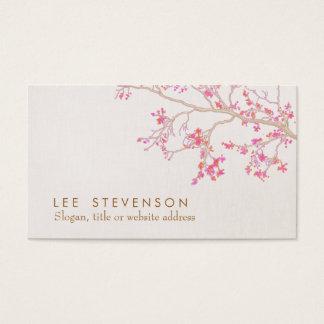 かわいいピンクの桜の花柄の自然 名刺