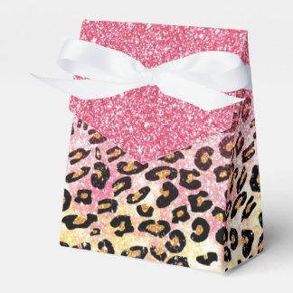 かわいいピンクの模造のなグリッターのヒョウのアニマルプリント フェイバーボックス