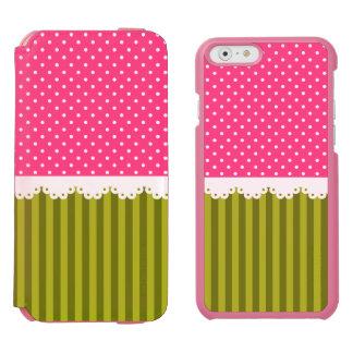 かわいいピンクの水玉模様の緑のストライプパターン INCIPIO WATSON™ iPhone 6 ウォレットケース