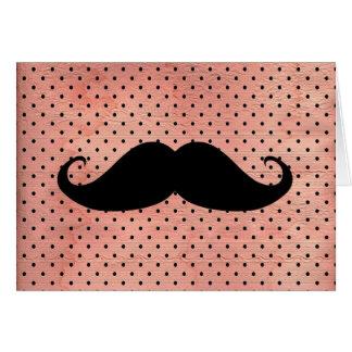かわいいピンクの水玉模様の背景のおもしろいな髭 カード