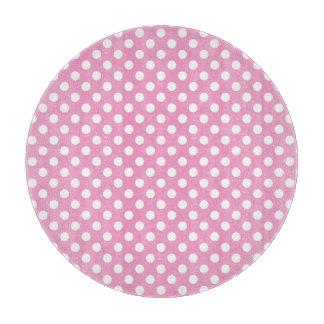 かわいいピンクの水玉模様パターン カッティングボード