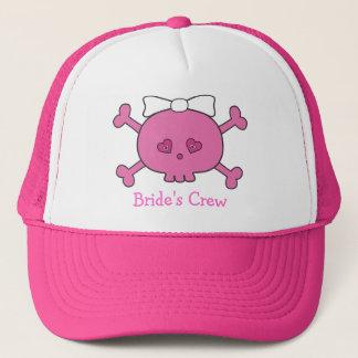 かわいいピンクの漫画のスカルの花嫁の乗組員のバチェロレッテ キャップ