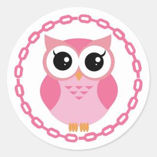 かわいいピンクの漫画のフクロウ ラウンドシール