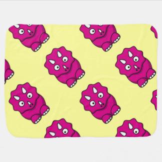 かわいいピンクの漫画の恐竜 ベビー ブランケット