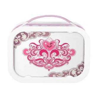 かわいいピンクの王女の王冠のモノグラムのランチボックス ランチボックス