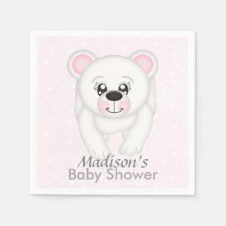 かわいいピンクの白くまのベビーシャワーのナプキン スタンダードカクテルナプキン