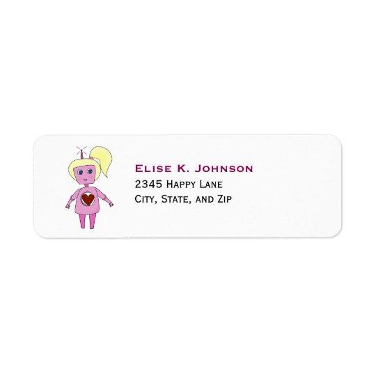 かわいいピンクの空想科学小説のロボット女の子 ラベル