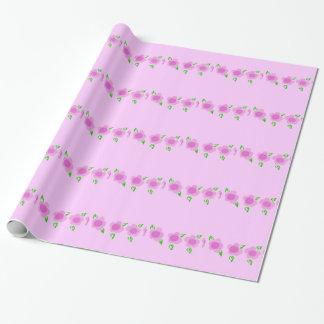 かわいいピンクの花の包装紙 ラッピングペーパー