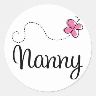 かわいいピンクの蝶乳母 ラウンドシール