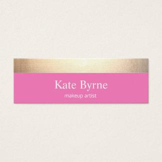 かわいいピンクの金ゴールドのストライプのなモダン スキニー名刺