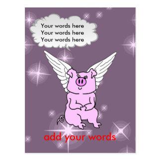 かわいいピンクの飛んでいるなブタ ポストカード
