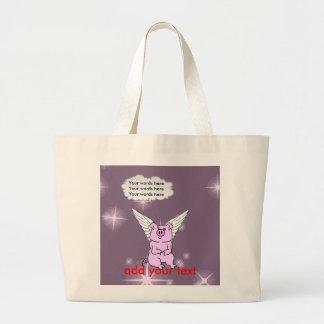 かわいいピンクの飛んでいるなブタ ラージトートバッグ